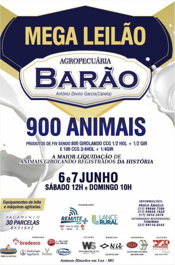 Mega Leilão Agropecuária  Barão - 1º Etapa