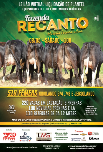 Leilão Virtual Liquidação de Plantel - Fazenda Recanto