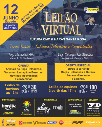 Leilão Virtual Futura CMC e Haras Santa Rosa